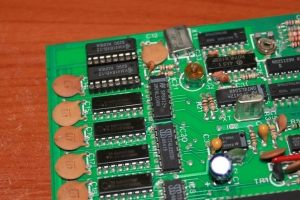 Repaired Oric Atmos Mainboard DRAM Closeup